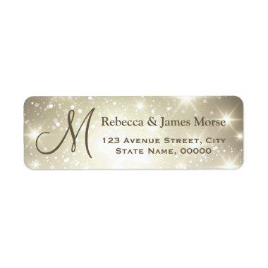 Shimmer Dazzling Sparkles Look Monogram Wedding Label
