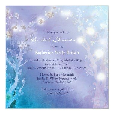 Shimmering Blues Unique Bridal Shower Invitations