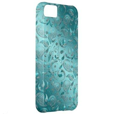 Shiny Paisley Turquoise iPhone 5C Cover
