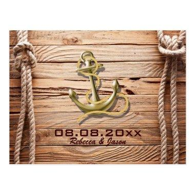 ship dock wood beach anchor nautical save the date post