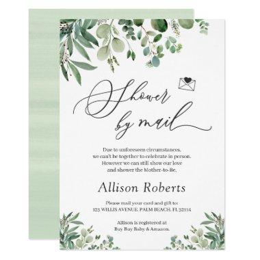 Shower By Mail Script Greenery Eucalyptus Leaves Invitations