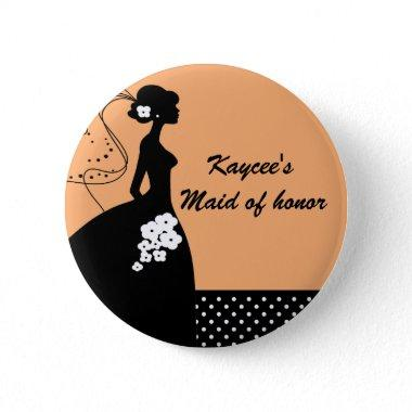 Silhouette Bride Bridal Party Maid of Honor Button