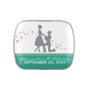 Silhouette Proposal Wedding Favor Tins (emerald)