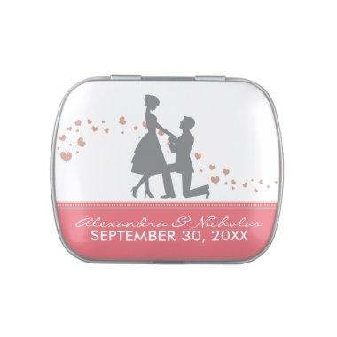 Silhouette Proposal Wedding Favor Tins (rose pink) Candy Tin
