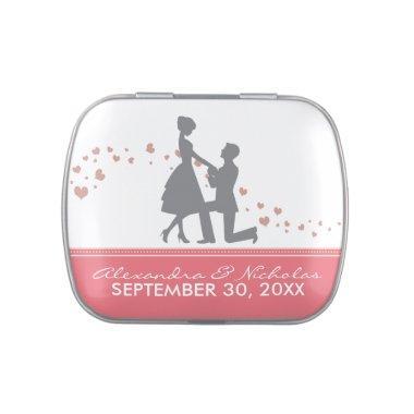 Silhouette Proposal Wedding Favor Tins (rose pink) Candy Tin
