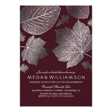 Silver and Burgundy Leaves Fall Bridal Shower Invitations