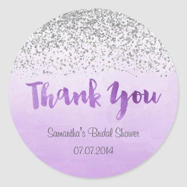 Silver and Purple Bridal Shower Sticker