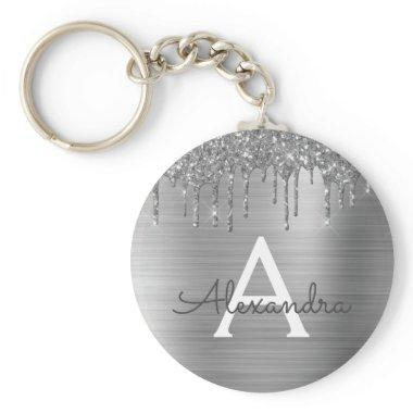 Silver Faux Glitter Stainless Steel Monogram Keychain