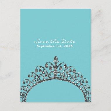 Silver Faux Glitter Tiara Crown Save the Date Announcement PostInvitations