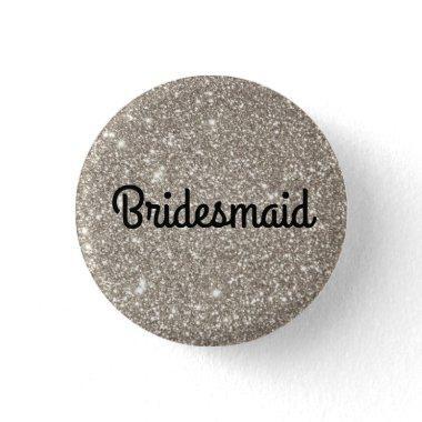Silver Glitter Bridesmaid Button