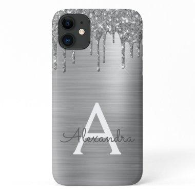Silver Glitter Brushed Metal Monogram Name iPhone 11 Case