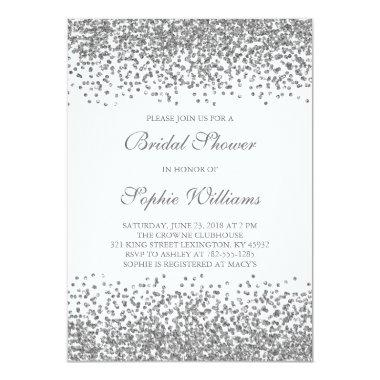 Silver Glitter Confetti Bridal Shower Invitations