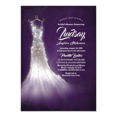 Silver Glitter Elegant Dress Purple Bridal shower Invitations