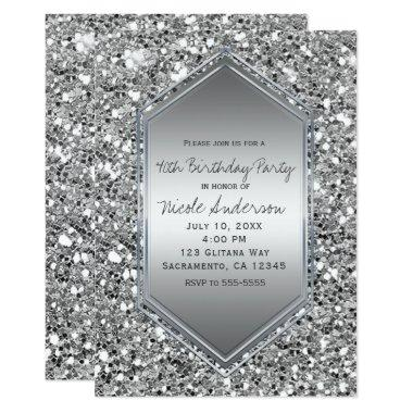 Silver Glitter Glam Chic Birthday Party Any Event Invitations