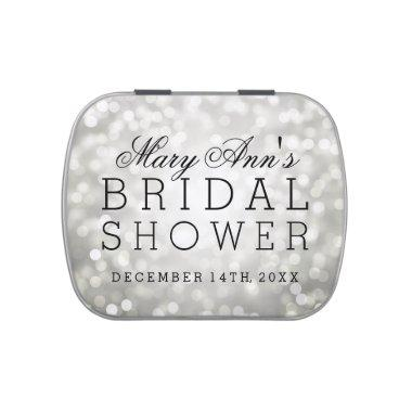 Silver Glitter Lights Elegant Bridal Shower Favor Jelly Belly Candy Tin