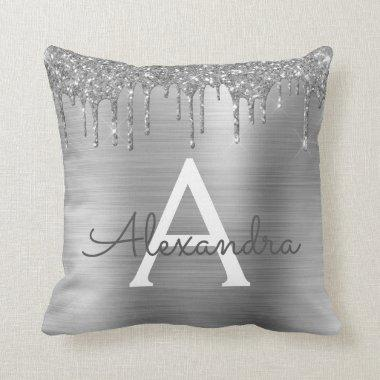 Silver Glitter Sparkle Brushed Metal Monogram Name Throw Pillow