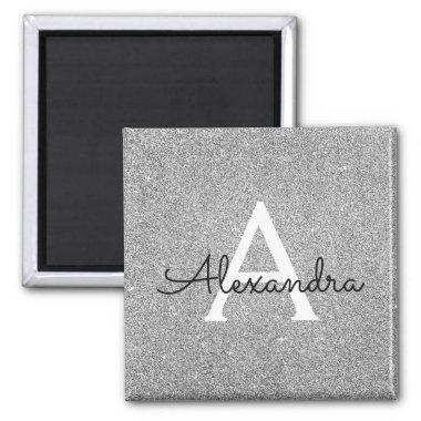 Silver Glitter & Sparkle Monogram Birthday Magnet