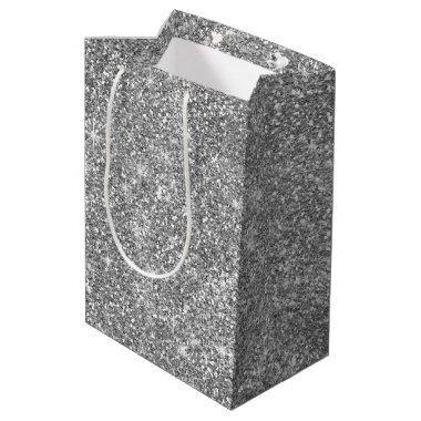 Silver Glitter Stars Classy Medium Party Gift Bag