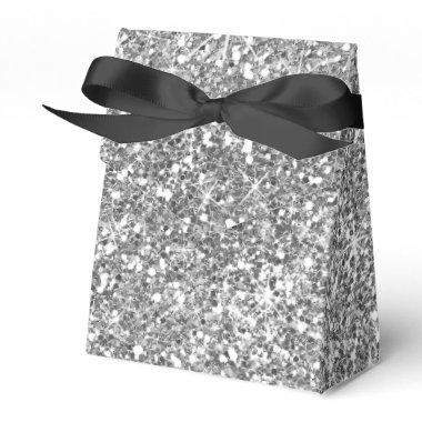 Silver Glitter Stylish Modern Wedding Favor Box