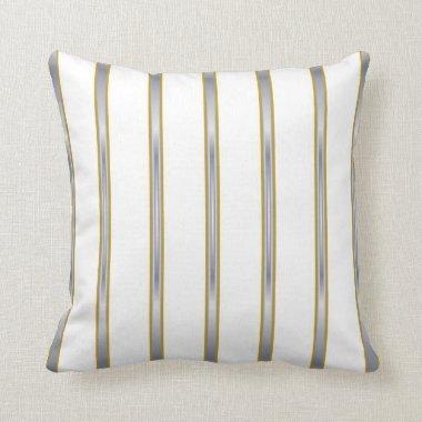 Silver Gold White Stripes Lumbar and Throw Pillows