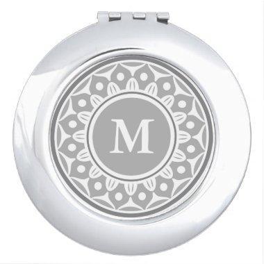 Silver Gray Floral Pattern Monogrammed Vanity Mirror