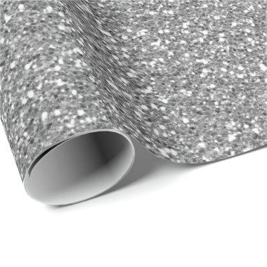 Silver Gray Glam Glitter Sparkly Minimal Delicate Wrapping Paper
