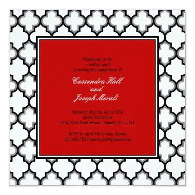 Silver Grey, Black & White Tuxedo Invitation, Red