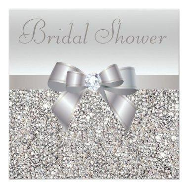 Silver Printed Sequins Bow & Diamond Bridal Shower Invitations