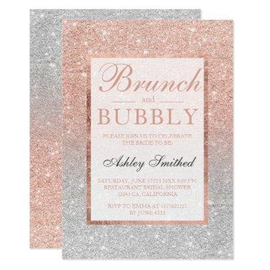 Silver rose gold glitter brunch bubbly bridal