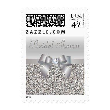 Silver Sequins, Bow & Diamond  Postage