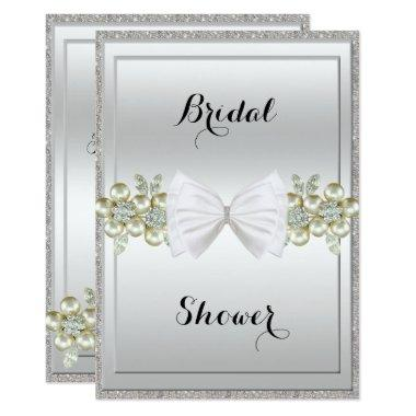 Silver Sequins & Floral Gems Glitter Bow Bridal Invitations