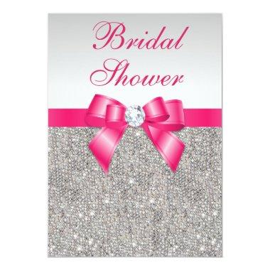 Silver Sequins Hot Pink Bow