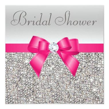 Silver Sequins Hot Pink Bow Diamond Bridal Shower Invitations