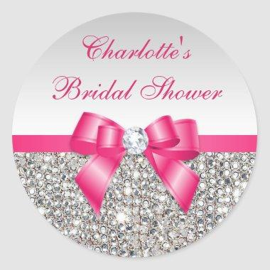 Silver Sequins Hot Pink Bow Diamond  Classic Round Sticker