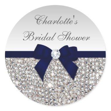 Silver Sequins Navy Bow Diamond  Classic Round Sticker