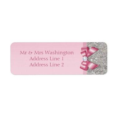 Silver Sequins Pink Diamond Bow Label
