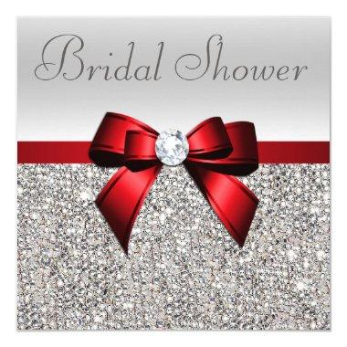 Silver Sequins Red Bow Diamond Bridal Shower Invitations