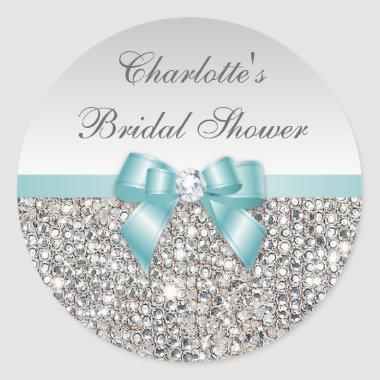 Silver Sequins Teal Bow Diamond Bridal Shower Classic Round Sticker