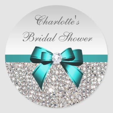 Silver Sequins Teal Diamond Bow  Classic Round Sticker