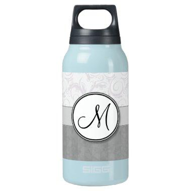 Silver Snow Floral Wisps & Stripes with Monogram Insulated Water Bottle