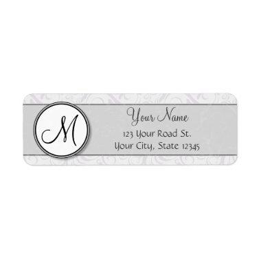 Silver Snow Floral Wisps & Stripes with Monogram Label