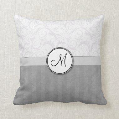 Silver Snow Floral Wisps & Stripes with Monogram Throw Pillow