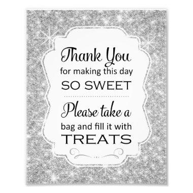 Silver Sparkle Candy Buffet Bridal Shower Sign Photo Print