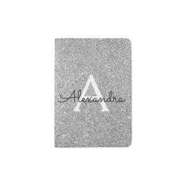 Silver Sparkle Glitter Girly Monogram Name Passport Holder