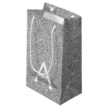 Silver Sparkle Glitter Monogram Name & Initial Small Gift Bag
