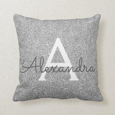 Silver Sparkle Glitter Monogram Name & Initial Throw Pillow