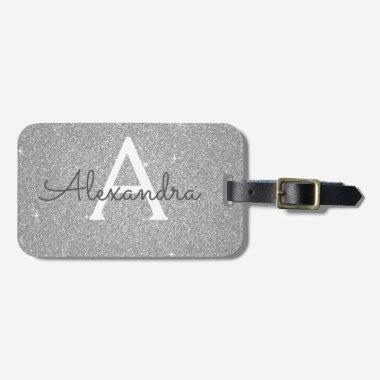 Silver Sparkle Glitter Monogram Name Luggage Tag