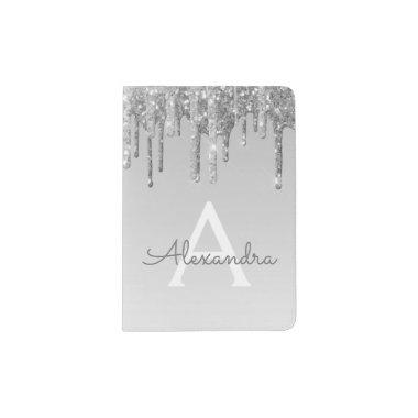 Silver Sparkle Glitter Monogram Name Passport Holder