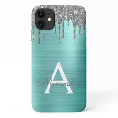 Silver Teal Glitter Brushed Metal Monogram Name iPhone 11 Case