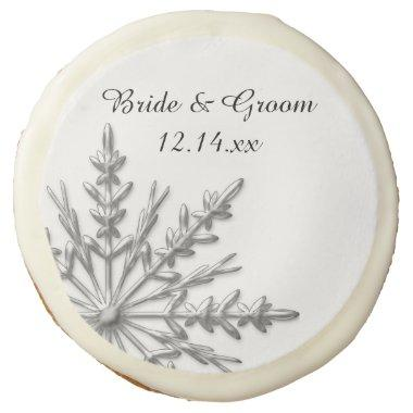 Silver Tone Snowflake Winter Wedding Favor Sugar Cookie